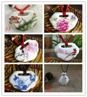 Wholesale AnnJon Natural Cloisonne ceramic jewelry Necklace The blue and white porcelain folk style round long necklace shaped hollow Pendant YM002