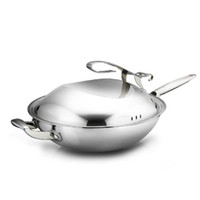 big frying pans - Heat Isolated Handle Panela Wok Ceramic Coated Stainless Steel Big Cooking Pot Non Stick Frying Pan with Free Standing Lid Woks
