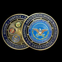 armed forces coins - 2 Big size mm x mm USA military family armed force Irion core bronze plated American souvenir coin