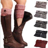 acrylic trim - Crochet Women Leg Warmers Knitted Boot Cuff Fashion Button Boot Cuffs Topper Boot Socks Hosiery Stockings Trim Boots Socks C62