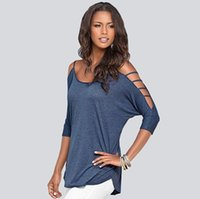 off the shoulder tops - 2016 sexy women tops blouses cotton blend off the shoulder hollow out sleeve gray pink dark blue women tops blouses