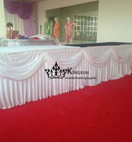 Wholesale White Color Ice Silk Table Skirt Skirting For Wedding Decoration