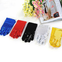 Wholesale Children Sequin Wrist Gloves For Party Dance Event Kids Adult Unisex Women Men Costume Halloween Christmas Xmas Finger Gloves Gifts