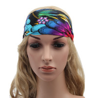 Wholesale 16 Colors Women Fashion Yoga Headband Stretch Twist Turban Sport Headbands Headwrap Fitness Wide Colorful Bohemia Headbands