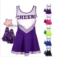 achat en gros de costume cheerleader-Vente en gros-Sexy High School Cheerleader Costume Cheer Girls Uniform Party Outfit avec pompons