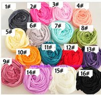 Wholesale 16 Colors Solid Color Women GirlS Scarf Candy Color Silk Scarves Sweet Candy Wrinkled Scarves Pendant Jewelry Silk Scarves