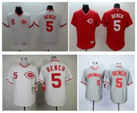 Cheap Johnny Bench Jersey Cheap Cincinnati Reds #5 Johnny Bench Jersey White Grey Throwback Baseball Jersey High Quality Stitched Embroidery Logos