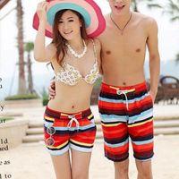 Wholesale Summer Couple Men Women Colorful Striped Beach Pants Board Short