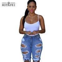 Cheap Hotapei Women Sexy Ripped Hole Denim Shorts Ladies Casual Mid Short Jeans Feminino Summer Plus Size Beach Denim Shorts LC78649