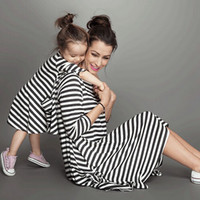 Wholesale Mother Daughter Dresses Fashion Long Sleeve Striped Family Look Matching Clothes Cotton Mom And Daughter Dress Family Clothing