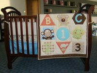 Wholesale Baby bedding set cotton Cot bedding set D Embroidery Letter Animal Crib bedding set include Quilt Bumper Mattress Cover