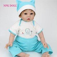 baby vinyl pants - 22 inches Silicone Reborn Baby Dolls Handmade Realistic Babies Born Toys Fake BeBe cm Newborn Hat Romper Pants
