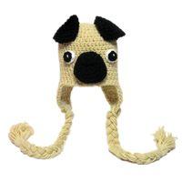 baby pugs - Novelty Cool Pug Hat Handmade Knit Crochet Baby Boy Girl Puppy Hat Kids Dog Animal Hat Newborn Earflap Hat Infant Toddler Photo Prop