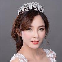 Cheap Bridal Princess Austrian Stunning Crystal Hair Tiara Wedding Crown Forcine Da Sposa Veil Headband Bride Accessories Rhinestones