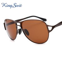 aluminium sun shade - KingSwit High Quality Polarized Sunglasses For Men Brown Lens Aluminium Temple Sun Glasses Square Eyeglasses Shade KS432