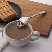 Wholesale Novelty Food Grade Stainless Tea and Coffee Stirring Spoon Sugar Spoon Skull Dessert Spoon Tea Spoon Tableware Halloween Gift