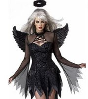 adult halloween costumes lot - 2pcs Sexy Costumes Adult Fallen Angel Costume Black Angel Party Dress Sexy Products Adult Halloween Costumes for Women Fantasias