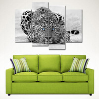 Wholesale 4 Picture Combination Black White Panel Wall Art Painting Blue Eyed Tiger Prints On Canvas The Picture For Home Decoration