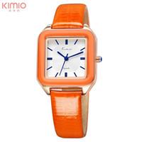 Compra Relojes de naranja-Relojes de pulsera cuadrados del cuarzo de la venda de reloj del cuero genuino de la manera de la marca de fábrica de la marca de fábrica 2016 de Kimio de las señoras de las mujeres del reloj de la marca de fábrica 2016
