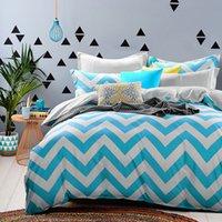 Wholesale 4 Pieces Cool Blue Wave Striped Cotton Bedding Set Queen Bed Set Duvet Cover Bed Sheet Pillow Case Bed Linen Housse De Couette