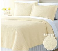 air condition comforter - 100 Cotton Air conditioning Summer Quilting Solid Color Embroidered Cool Luxury Comforter Bedding Set Bedspread Queen King