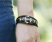 Cheap 1Set 2pcs Braided Adjustable Leather popular Bracelet Cuff Women Men`s Casual Jewelry