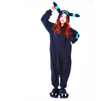 Wholesale Cosplay Anime Blue Shiny Umbreon Onesie Halloween Party Costumes Pocket Monster Umbreon Pikachu Adult Women Men Pajamas Jumpsuit Romper Free