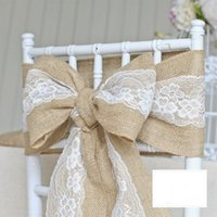 Wholesale Beautiful Satin Bow Wedding Accessories For Chairs Flax Elegent Sample Lace Textile Chair Cover Sashes Wedding Decorations