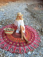 Wholesale Ethnic Round HOT Floral Summer Camping Beach Towel Hippie Tapestry Wall Hanging Indian Mandala Tapestries Bedspread Wall Decor