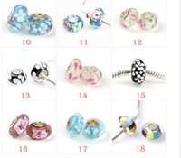 Wholesale Fashion loose beads Sterling pure Silver Murano Glass Charm Bead For Pandora Bracelet