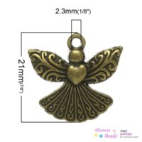 antique apron - Charm Pendants Angel Antique Bronze Flower Pattern Carved mm x mm B34005 pattern rotation patterns apron