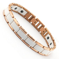 Wholesale Wollet Jewelry cm mm women men stainless steel rose gold white ceramic bracelet