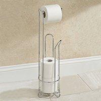 bathroom tissue holder stand - Bathroom Paper Holder Standing Stainless Steel Tissue Toilet Roll Rack Cleaning Brush Storage Shelf Set