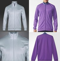 Wholesale The The best quality real Madrid jackets white with purple