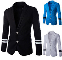 Wholesale Men Blazer Suit Long Sleeve Turn Down Collar Patchwork Color Two Button Famous Branded Mens Blazer Coat Free Ship