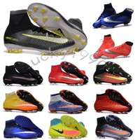 Wholesale Women MerCURial SuPERfly CR7 Soccer shoes MaGista OrDen II ACC FG High Ankle football Boots SuPERflys V turf womens soccer cleats indoor