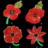 Wholesale Royal British Legion brooches Red Crystal Beautiful Stunning Poppy Flower Brooches Pins UK Remebrance Day Gift DHL