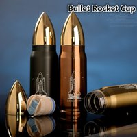 Wholesale Creative unique stainless steel cups vacuum keep warm cups bullet rocket missile real men double keep warm cups Water Bottles