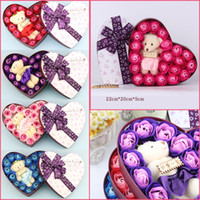 Wholesale Heart Gift Box Rose Soap Flowers Petal Body Scented Floral Soap With Little Bear Valentine s Day Gift YC2057