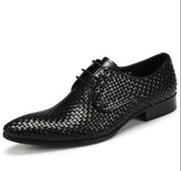 Wholesale Luxury Men New woven dress shoes British pointed business point head frist layer cowhide Genuine leather men s Wedding shoes size