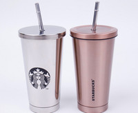 Wholesale NEW Starbucks vacuum double layer full stainless steel insulation Cup with suction couple coffee cup Long holding free