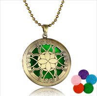 american beauty perfume - 11 styles aromatherapy necklaces Hollow out lotus fragrance necklaces essential oil diffuser beauty necklaces Hot perfume pendant female