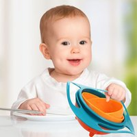 Wholesale 1PC Rotate Spill Proof Bowl Dishes Toy Children Kid Baby Toy Universal Bowl Dishes Non Spill Technology Funny Gif