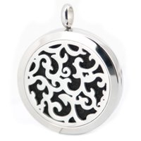 Wholesale 1pcs Round Silver rattan mm Stainless Steel Essential Oils Aromatherapy Diffuser Locket Necklace With Free chain and Pads