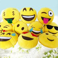 Wholesale 7 Styles Diameter cm Cushion Cute Lovely Emoji Smiley Pillows Cartoon Cushion Pillows Yellow Round Pillow Stuffed Plush Toy HHA29