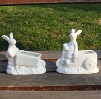 bamboo storage bins - Cute Porcelain Bunny Figurine Organizer Bin Ornamental Ceramics Rabbit Storage Canister Tabletop Decor Trinket Gift and Craft