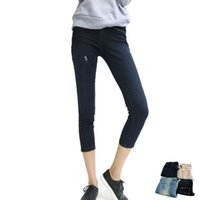 Wholesale Women Denim Skinny Jeans Stretch Slim Casual Trousers Spring Summer Vintage Women Pocket Zipper Capris Harem Pants J01