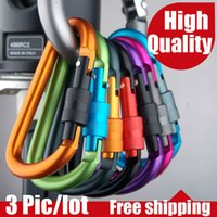 Wholesale 3pic Aluminum Alloy Screw Lock Carabiner Durable Climbing Hook D shaped buckle CM Camping Outdoor sport cycl