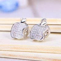 alphabet apples - Orecchini mm White for Apple Brand New Silver Stud Earrings Split Evening Dresses Accessories Crystal Hot Sales Oscar 9