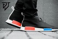 Wholesale Original NMD Runner Primeknit Discount Sales White Red Blue NMD Runner Sports Shoes Men Woman NMD Running Boost with Box